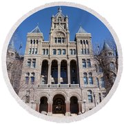 Round Beach Towel featuring the photograph Salt Lake City - City Hall - 2 by Ely Arsha