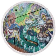 Round Beach Towel featuring the photograph Salt Lake City - Mural 2 by Ely Arsha