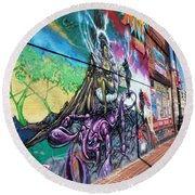 Round Beach Towel featuring the photograph Salt Lake City - Mural 3 by Ely Arsha