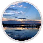 Salt Lake Marina Sunset Round Beach Towel by Matt Harang