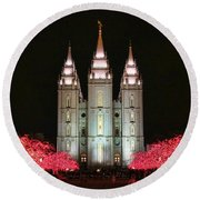 Round Beach Towel featuring the photograph Salt Lake Temple - 1 by Ely Arsha