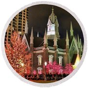 Round Beach Towel featuring the photograph Salt Lake Temple - 3 by Ely Arsha