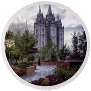 Salt Lake Temple Round Beach Towel by Mountain Dreams
