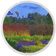 Salt Marsh Gull Round Beach Towel