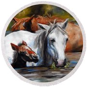Round Beach Towel featuring the pastel Salt River Foal by Karen Kennedy Chatham
