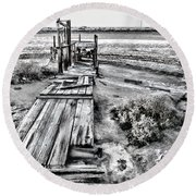 Salton Sea Dock Under Renovation By Diana Sainz Round Beach Towel