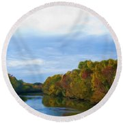 Saluda River In The Fall Round Beach Towel