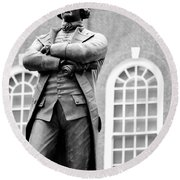 Samuel Adams Statue State House Boston Ma Black And White Round Beach Towel
