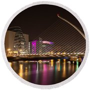 Samuel Beckett Bridge In Dublin City Round Beach Towel