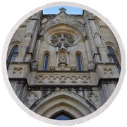 San Antonio Church 02 Round Beach Towel by Shawn Marlow