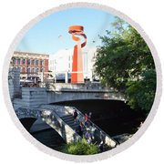 Round Beach Towel featuring the painting San Antonio River 01 by Shawn Marlow