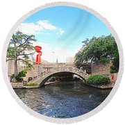 San Antonio River Walk Round Beach Towel