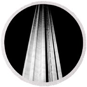 San Antonio Tower Of The Americas Hemisfair Park Space Needle Tower Restaurant Black And White Round Beach Towel by Shawn O'Brien