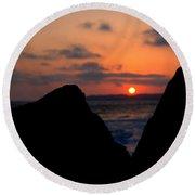 San Clemente Rocks Sunset Round Beach Towel by Matt Harang