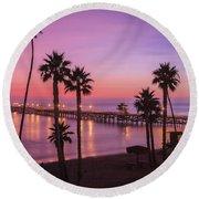 San Clemente Sunset Meditation Round Beach Towel