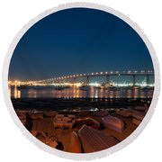 San Diego Bridge  Round Beach Towel