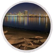 Round Beach Towel featuring the photograph San Diego Harbor Lights by Gary Holmes