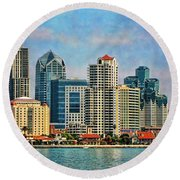 San Diego Skyline Round Beach Towel by Peggy Hughes