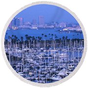 San Diego Twilight Round Beach Towel