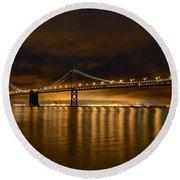 San Francisco - Bay Bridge At Night Round Beach Towel