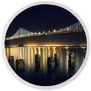 San Francisco Bay Bridge Illuminated Round Beach Towel