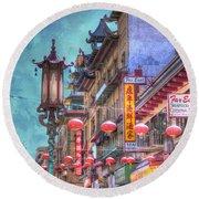 San Francisco Chinatown Round Beach Towel