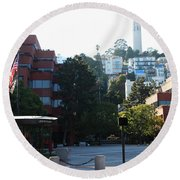 San Francisco Coit Tower At Levis Plaza 5d26186 Round Beach Towel