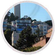San Francisco Coit Tower At Levis Plaza 5d26192 Round Beach Towel