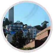 San Francisco Coit Tower At Levis Plaza 5d26193 Round Beach Towel