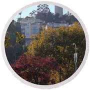 San Francisco Coit Tower At Levis Plaza 5d26216 Round Beach Towel