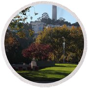 San Francisco Coit Tower At Levis Plaza 5d26217 Round Beach Towel