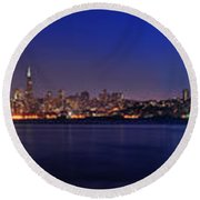 San Francisco Dusk Panorama Round Beach Towel