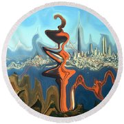 San Francisco Earthquake - Modern Art Round Beach Towel by Art America Gallery Peter Potter