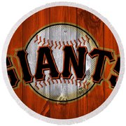 San Francisco Giants Barn Door Round Beach Towel