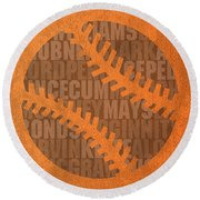 San Francisco Giants Baseball Typography Famous Player Names On Canvas Round Beach Towel by Design Turnpike