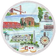 San Francisco Highlights Montage Round Beach Towel