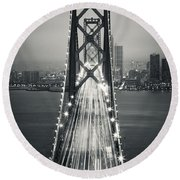San Francisco - Oakland Bay Bridge Bw Round Beach Towel
