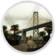 San Francisco Oakland Bay Bridge Round Beach Towel