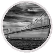 San Francisco - Oakland Bay Bridge Round Beach Towel