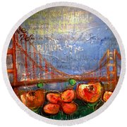 San Francisco Poppies For Lls Round Beach Towel