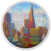 San Francisco Reflections Round Beach Towel