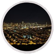 Round Beach Towel featuring the photograph San Francisco Skyline by Dave Files