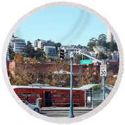 San Francisco Trolley And Coit Tower 5d25935 Round Beach Towel