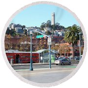 San Francisco Trolley And Coit Tower At The Exploratorium 5d25934 Round Beach Towel