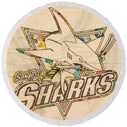 San Jose Sharks Vintage Poster Round Beach Towel by Florian Rodarte