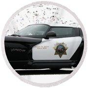 San Luis Obispo County Sheriff Viper Patrol Car Round Beach Towel