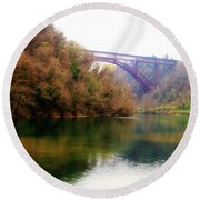 San Michele Bridge N.1 Round Beach Towel