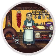 San Pascual Making Biscochitos Round Beach Towel