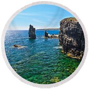 San Pietro Island - Le Colonne Round Beach Towel by Antonio Scarpi