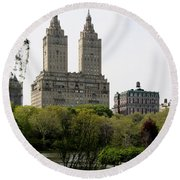 San Remo Towers Nyc Round Beach Towel by Christiane Schulze Art And Photography